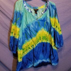 Lane bryant tie dye tropical blouse